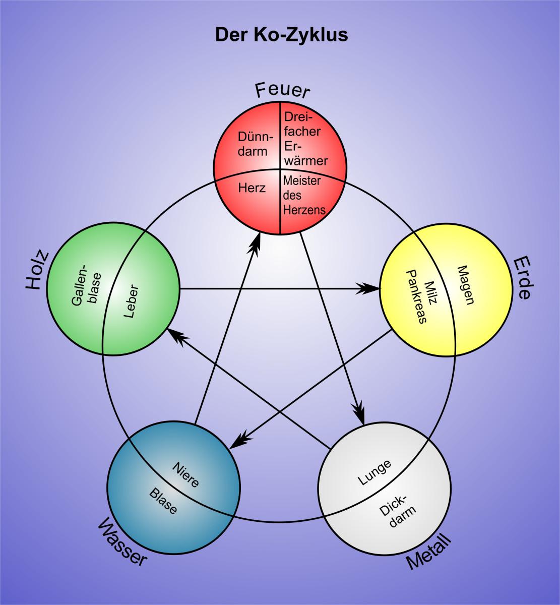 5 Elemente Ko Zyklus Gesund mit Zeichen